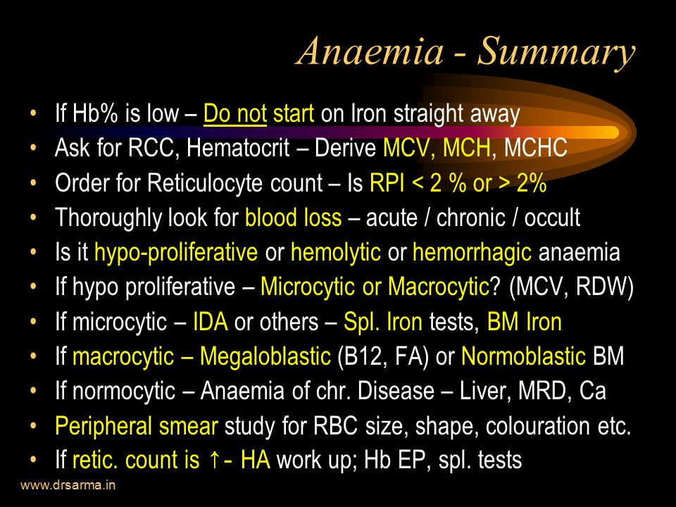 Anaemia - Summary If Hb% is low – Do not start on Iron straight away