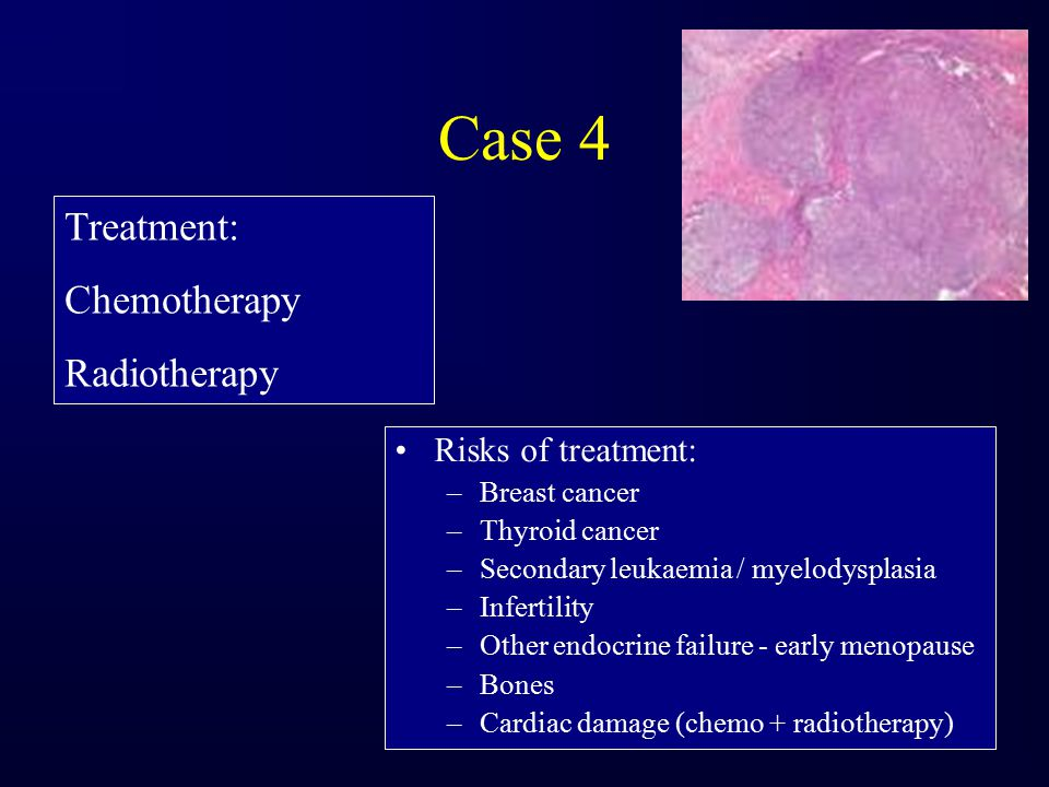 Case 4 Treatment: Chemotherapy Radiotherapy Risks of treatment:
