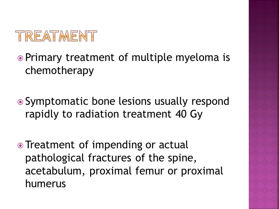 Treatment Primary treatment of multiple myeloma is chemotherapy