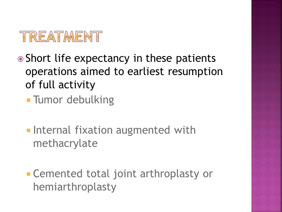 Treatment Short life expectancy in these patients operations aimed to earliest resumption of full activity.