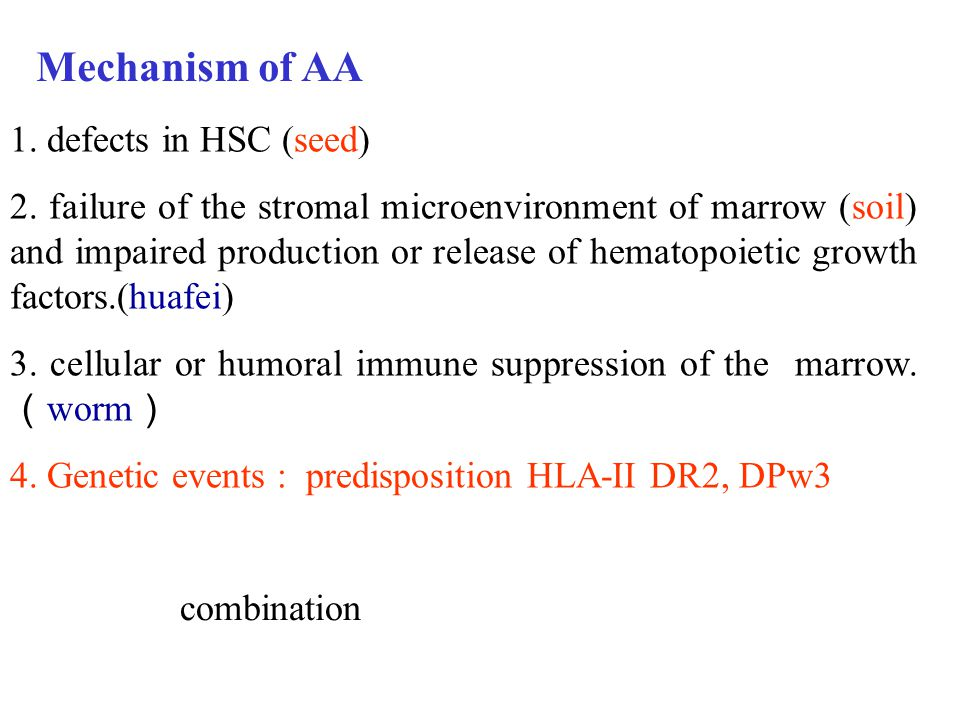 Mechanism of AA 1. defects in HSC (seed)