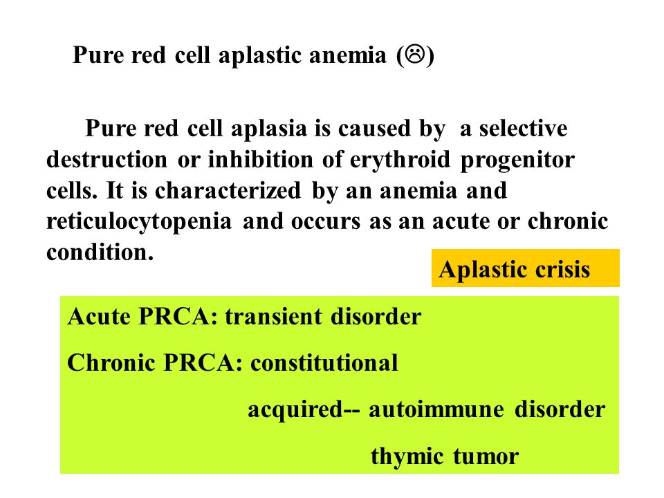 Pure red cell aplastic anemia ()