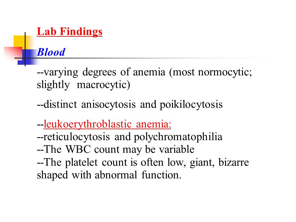 Lab Findings Blood. --varying degrees of anemia (most normocytic; slightly macrocytic) --distinct anisocytosis and poikilocytosis.