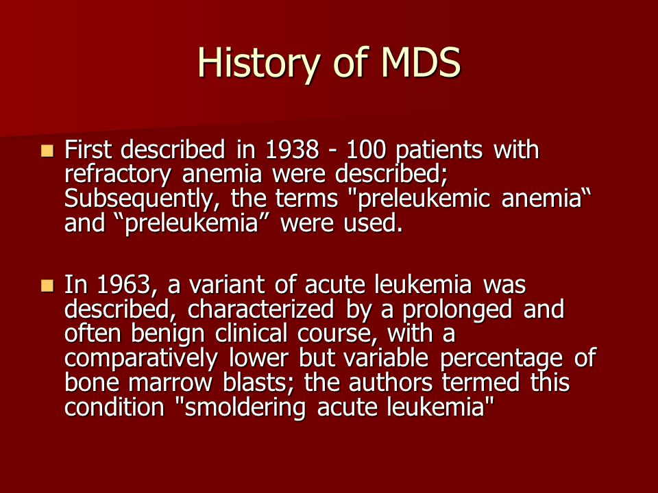 History of MDS