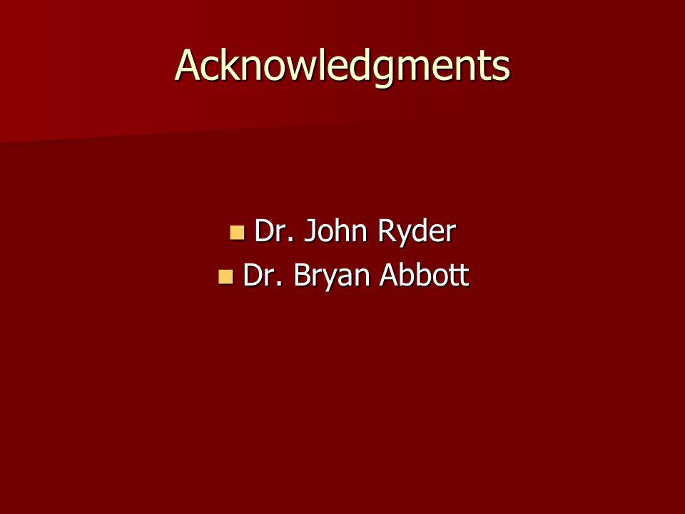 Acknowledgments Dr. John Ryder Dr. Bryan Abbott