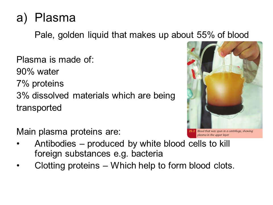 Pale, golden liquid that makes up about 55% of blood