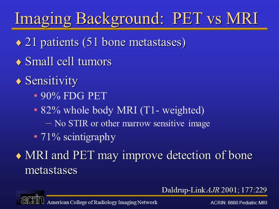 Imaging Background: PET vs MRI