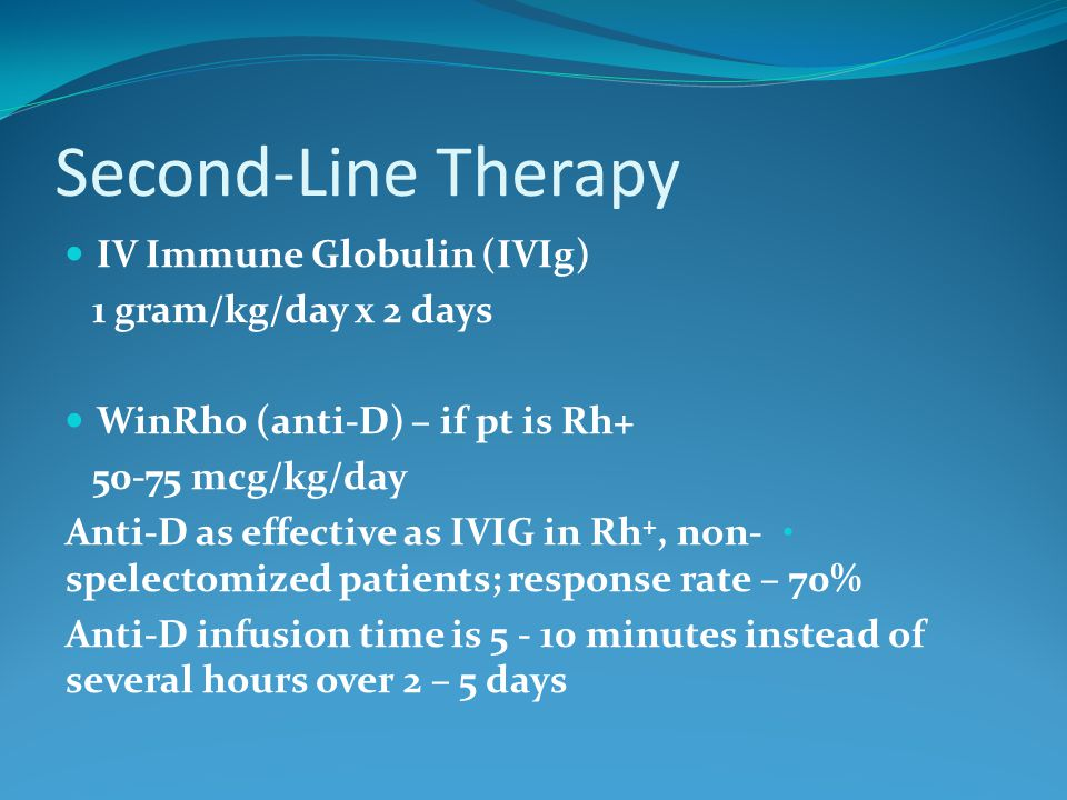 Second-Line Therapy IV Immune Globulin (IVIg) 1 gram/kg/day x 2 days