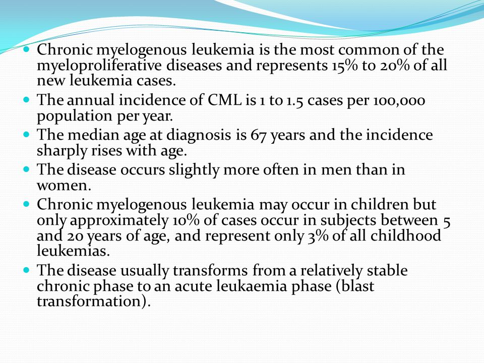 Chronic myelogenous leukemia is the most common of the myeloproliferative diseases and represents 15% to 20% of all new leukemia cases.