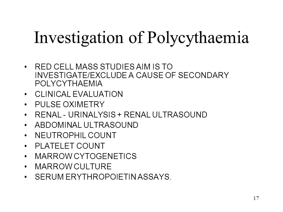 Investigation of Polycythaemia