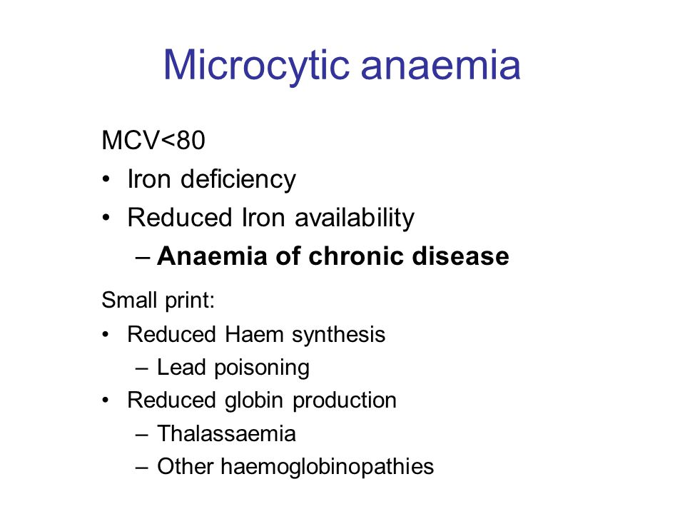 Microcytic anaemia MCV<80 Iron deficiency Reduced Iron availability
