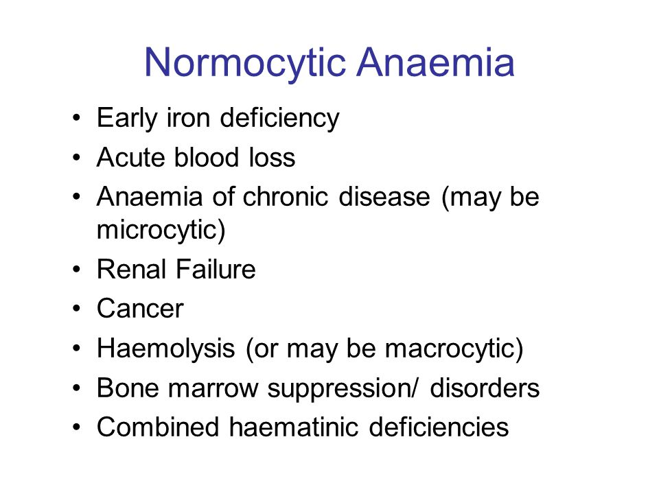 Normocytic Anaemia Early iron deficiency Acute blood loss