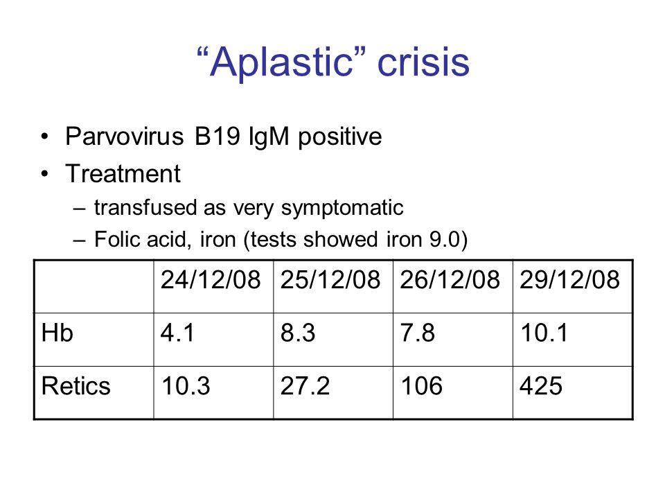 Aplastic crisis Parvovirus B19 IgM positive Treatment 24/12/08
