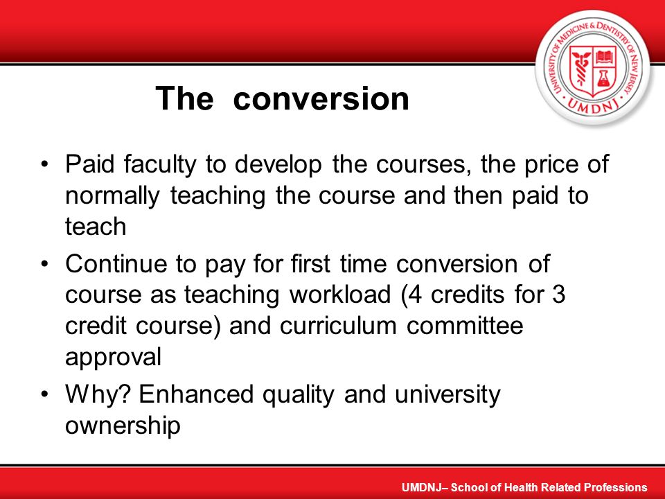 The conversion Paid faculty to develop the courses, the price of normally teaching the course and then paid to teach.