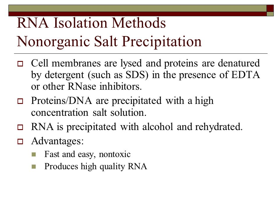 RNA Isolation Methods Nonorganic Salt Precipitation