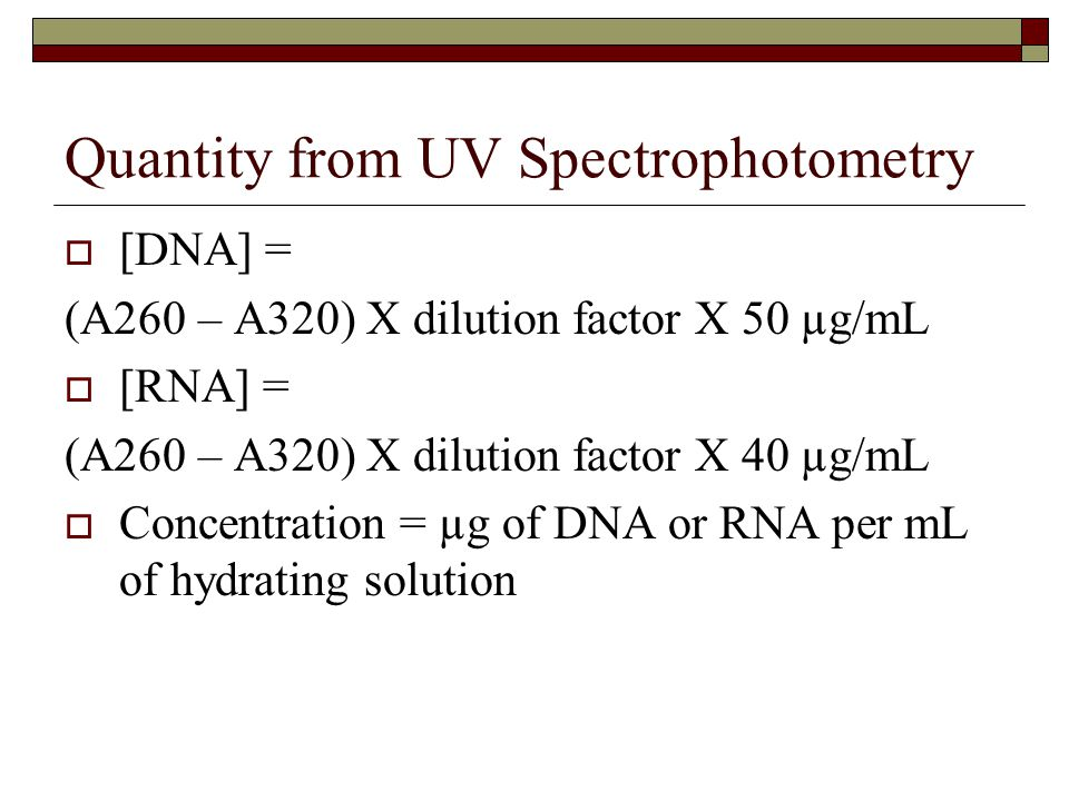 Quantity from UV Spectrophotometry