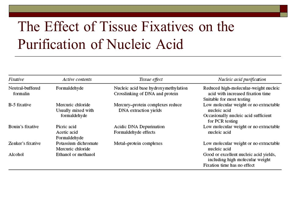 The Effect of Tissue Fixatives on the Purification of Nucleic Acid