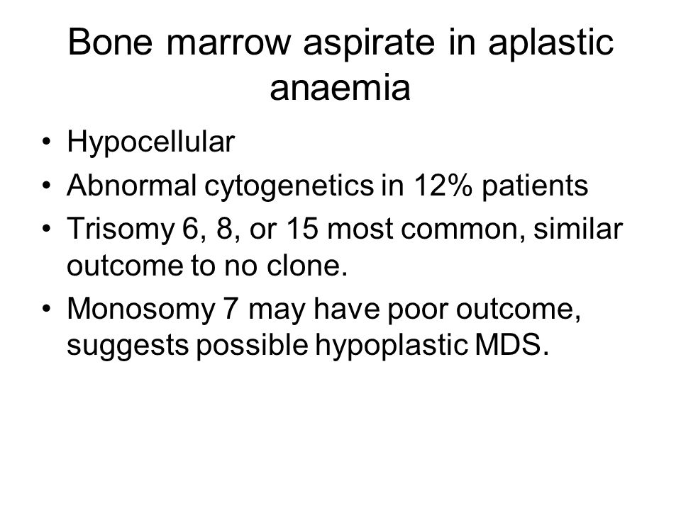 Bone marrow aspirate in aplastic anaemia