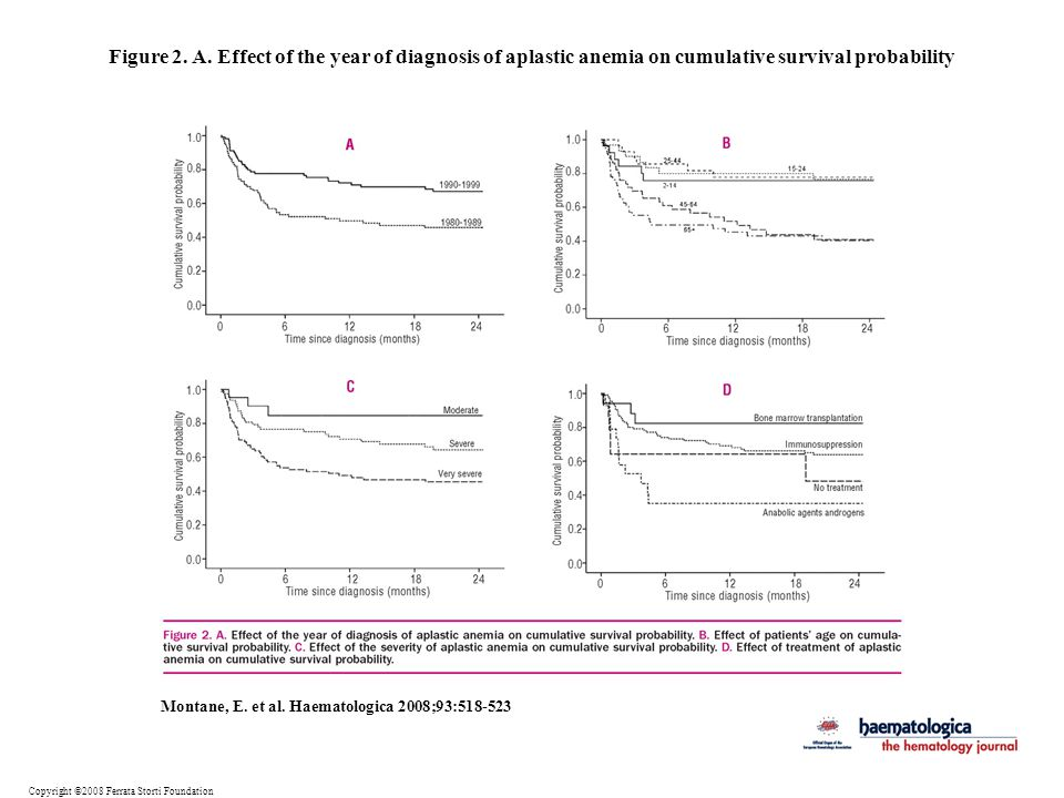 Figure 2. A. Effect of the year of diagnosis of aplastic anemia on cumulative survival probability
