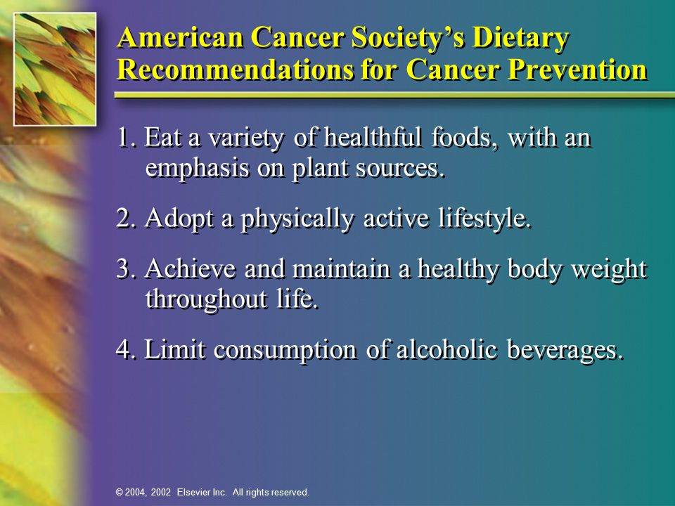 American Cancer Society's Dietary Recommendations for Cancer Prevention