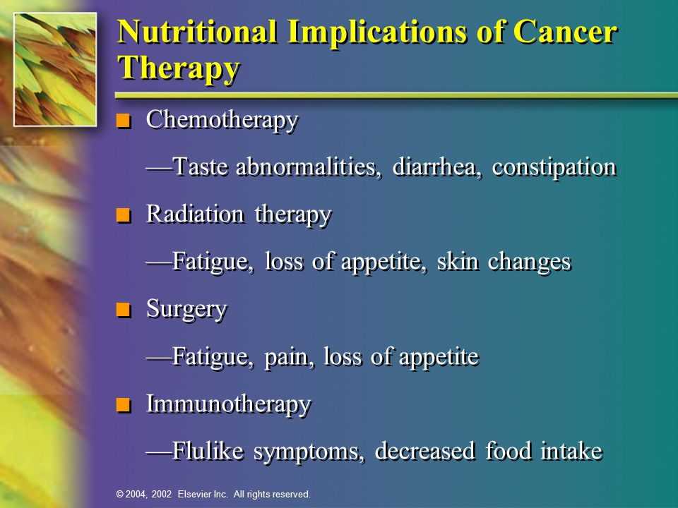 Nutritional Implications of Cancer Therapy