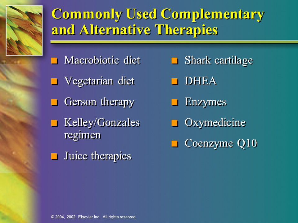 Commonly Used Complementary and Alternative Therapies