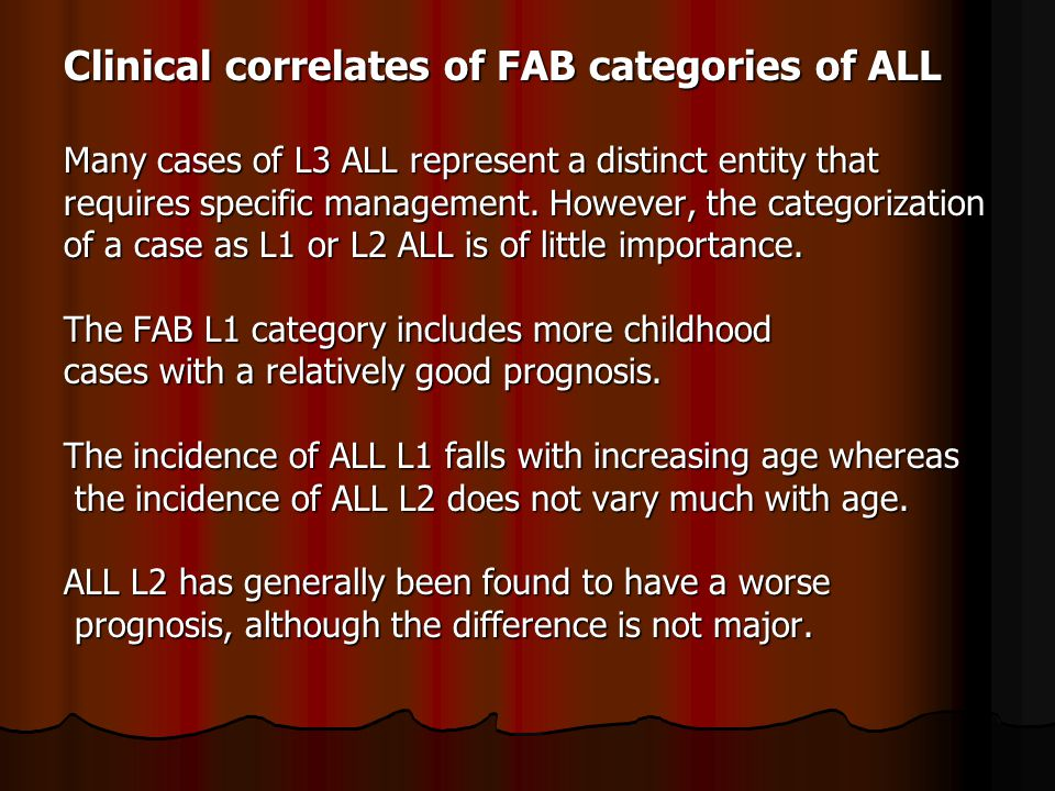 Clinical correlates of FAB categories of ALL