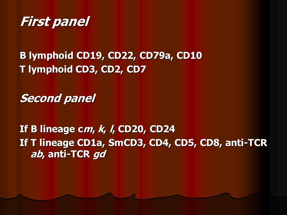 First panel Second panel B lymphoid CD19, CD22, CD79a, CD10