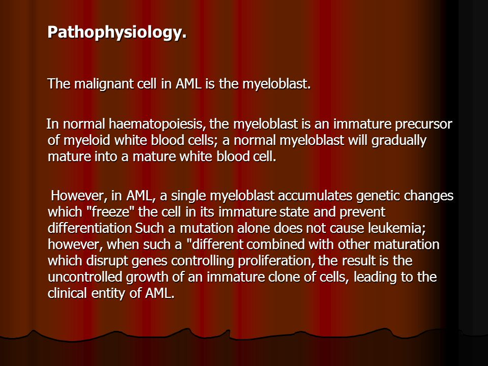 The malignant cell in AML is the myeloblast.