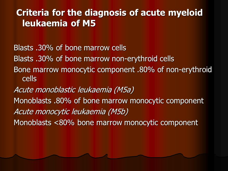 Criteria for the diagnosis of acute myeloid leukaemia of M5