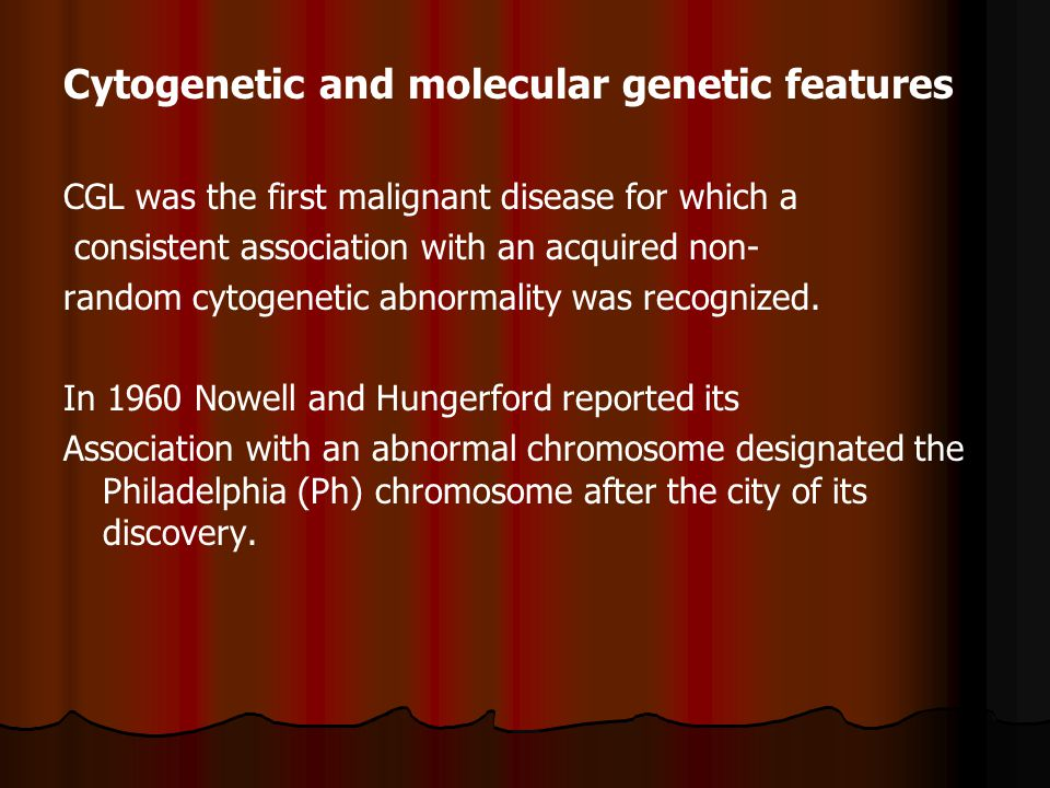 Cytogenetic and molecular genetic features