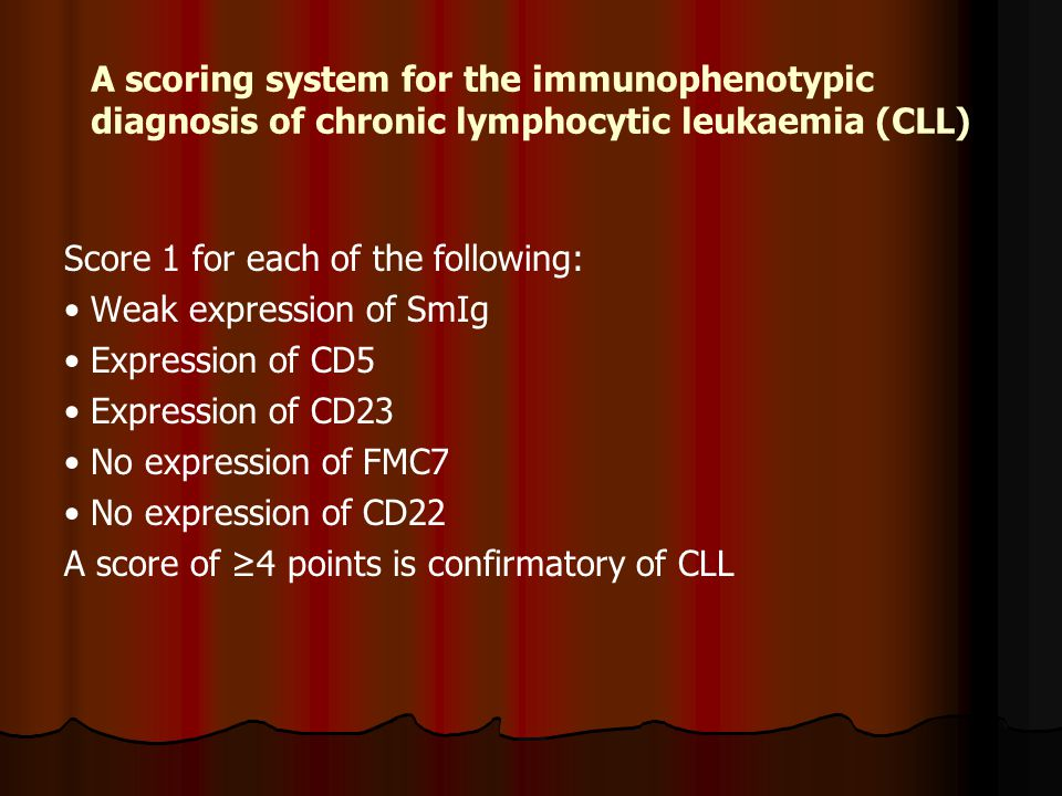 A scoring system for the immunophenotypic diagnosis of chronic lymphocytic leukaemia (CLL)