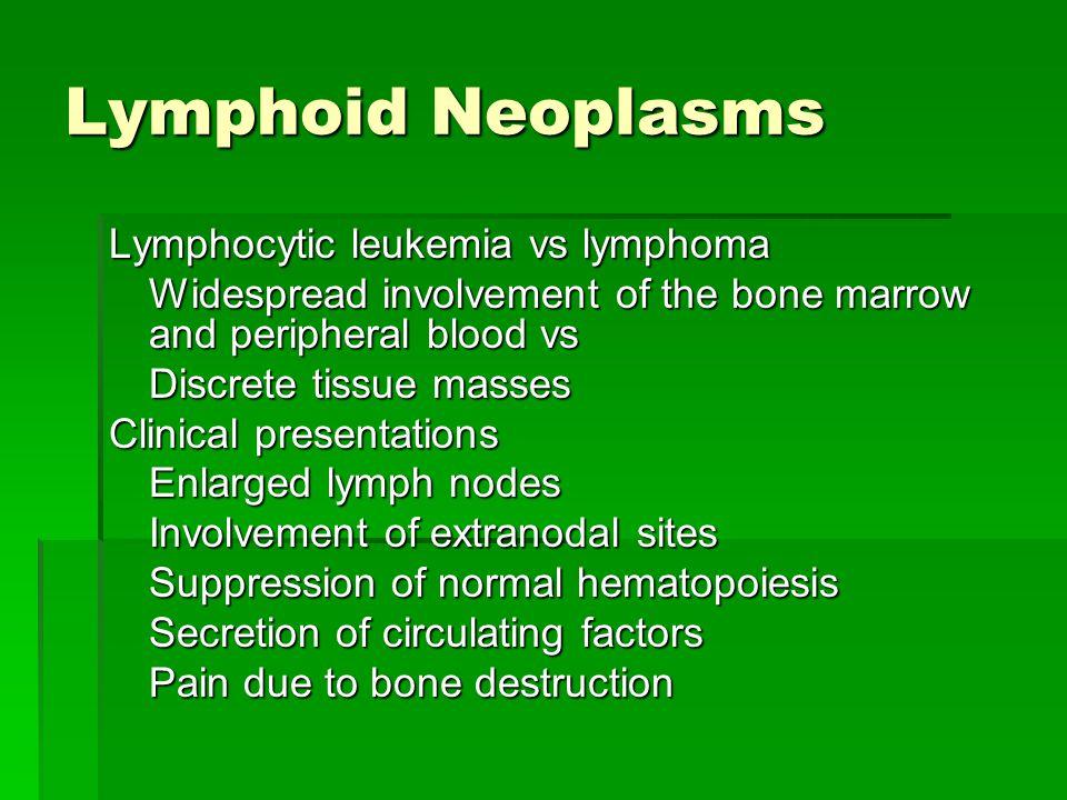 Lymphoid Neoplasms Lymphocytic leukemia vs lymphoma