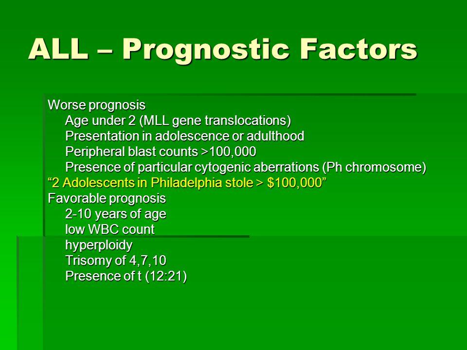 ALL – Prognostic Factors