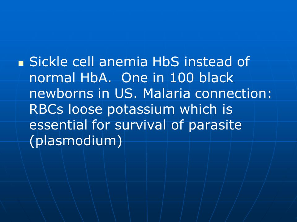 Sickle cell anemia HbS instead of normal HbA