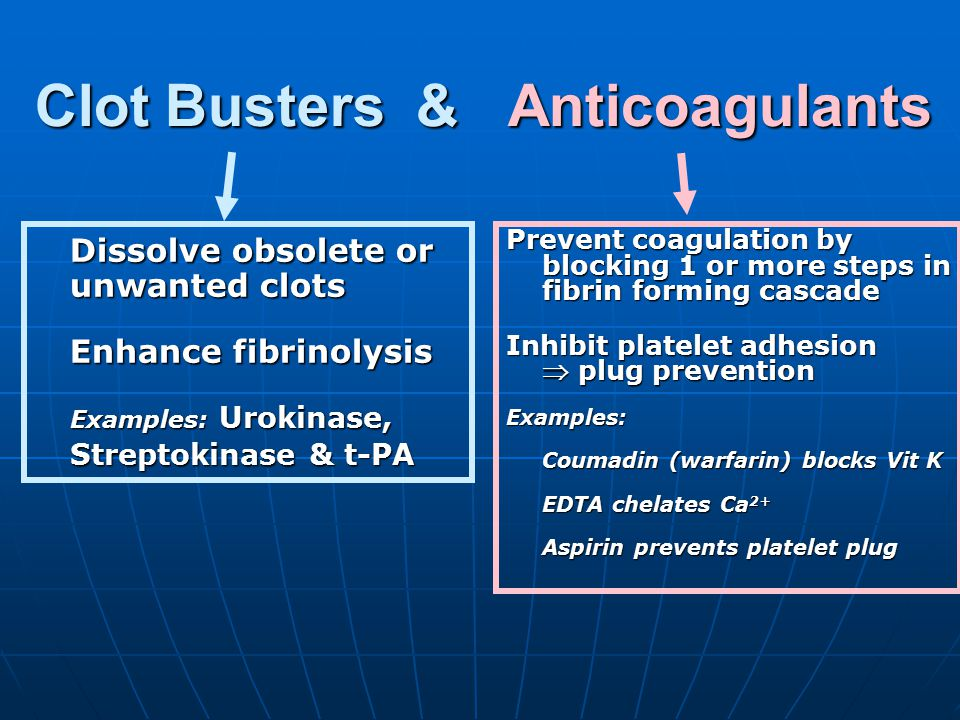 Clot Busters & Anticoagulants