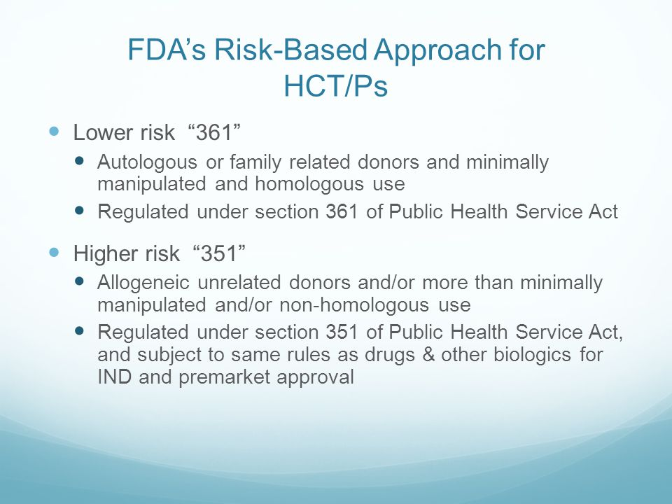 FDA's Risk-Based Approach for HCT/Ps