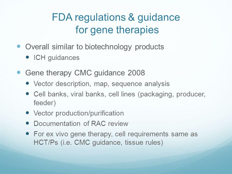 FDA regulations & guidance for gene therapies