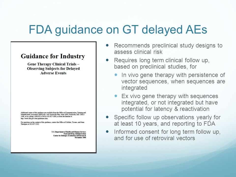FDA guidance on GT delayed AEs