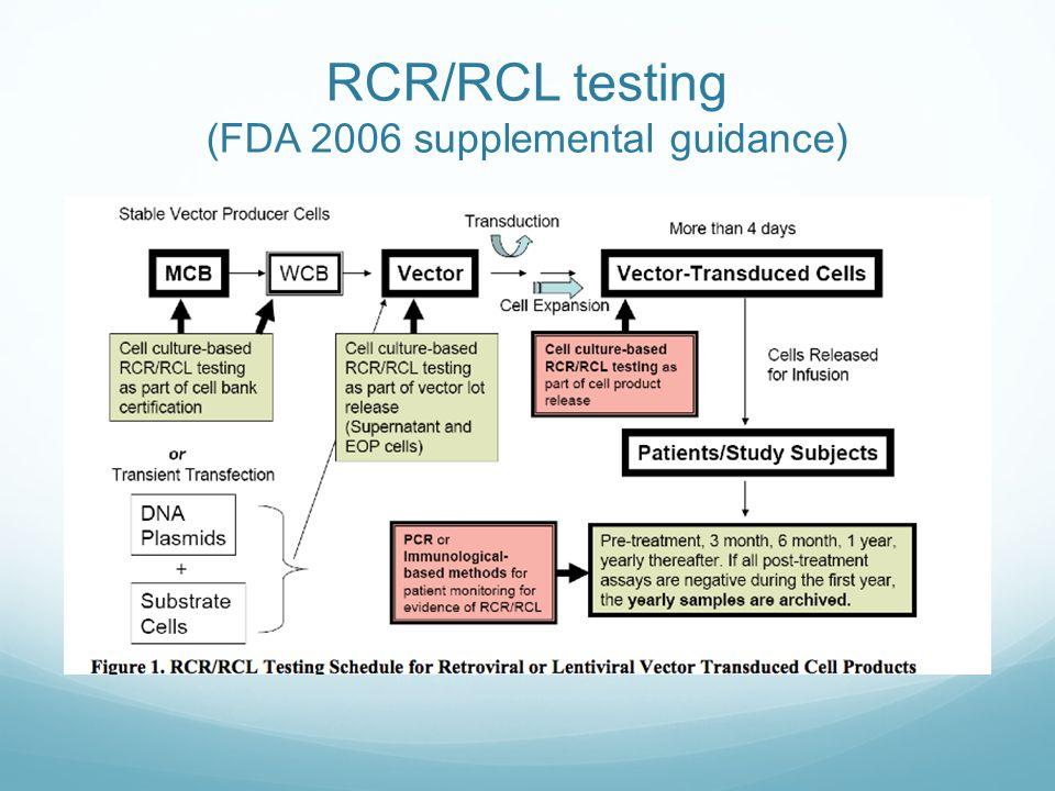 RCR/RCL testing (FDA 2006 supplemental guidance)
