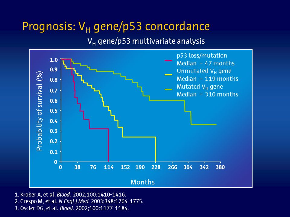Prognosis: VH gene/p53 concordance