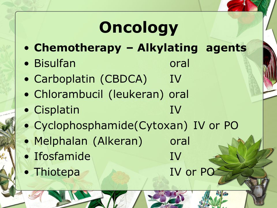 Oncology Chemotherapy – Alkylating agents Bisulfan oral