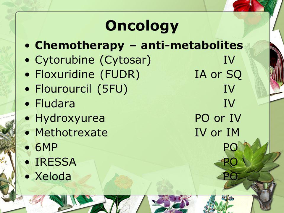 Oncology Chemotherapy – anti-metabolites Cytorubine (Cytosar) IV