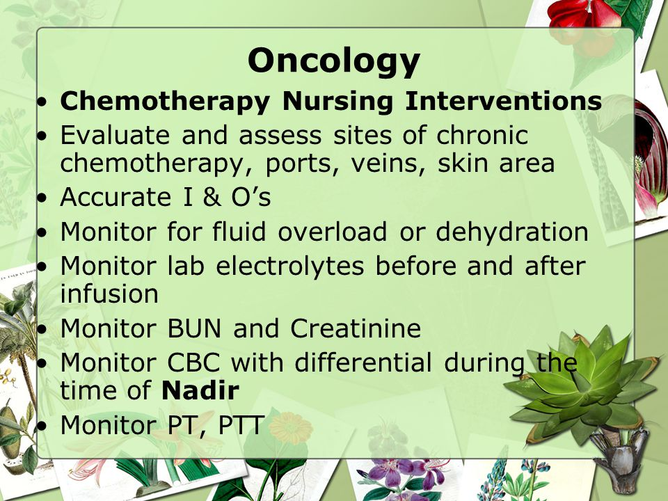 Oncology Chemotherapy Nursing Interventions