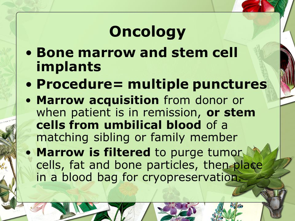 Oncology Bone marrow and stem cell implants