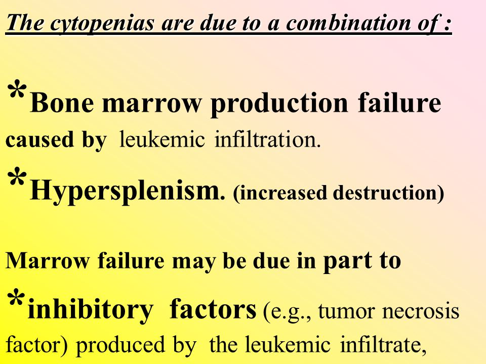 *Bone marrow production failure caused by leukemic infiltration.