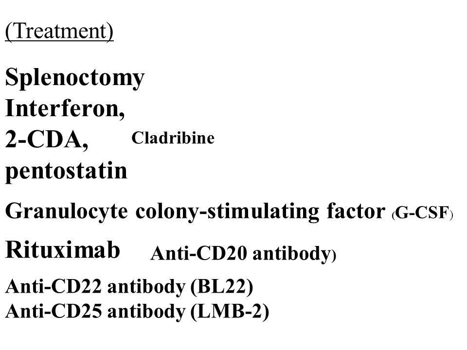 Splenoctomy Interferon, 2-CDA, pentostatin Rituximab (Treatment)