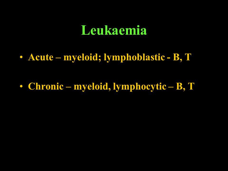 Leukaemia Acute – myeloid; lymphoblastic - B, T