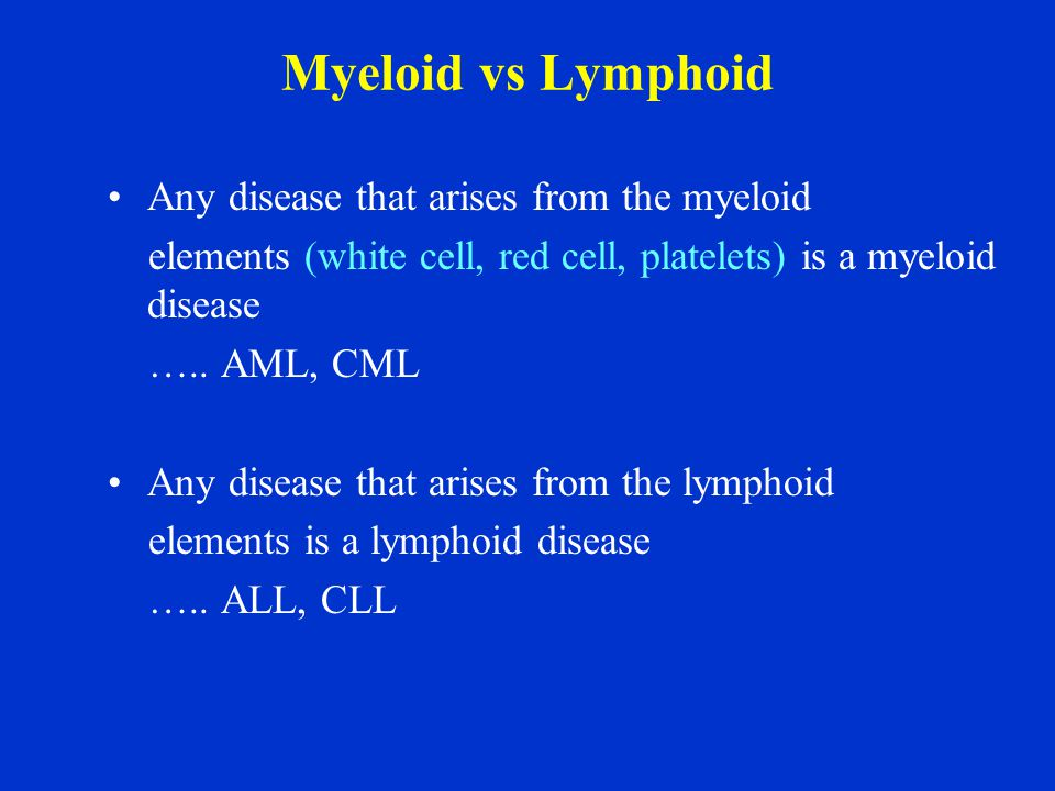 Myeloid vs Lymphoid Any disease that arises from the myeloid