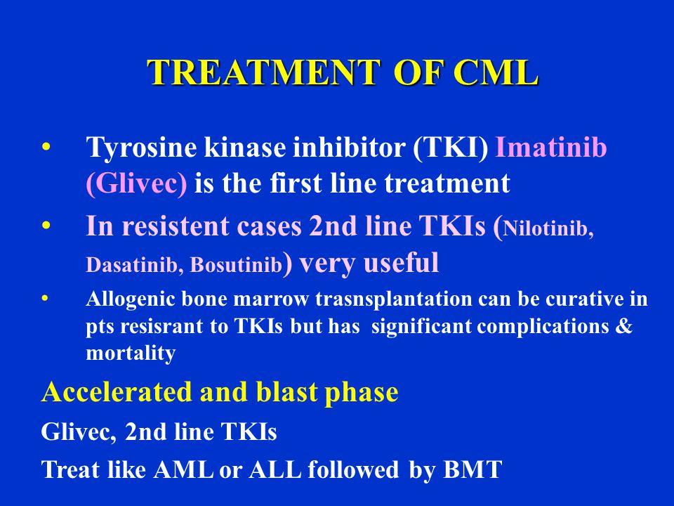 TREATMENT OF CML Tyrosine kinase inhibitor (TKI) Imatinib (Glivec) is the first line treatment.
